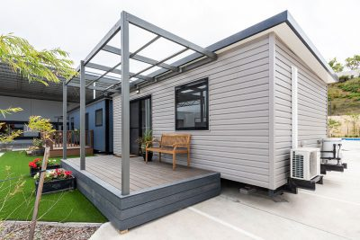 A modular home on display permanently in the fox yard for customers to come and view