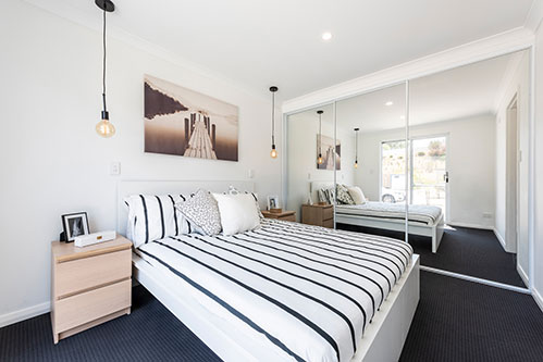 This spacious bedroom shows just how far modular housing has come