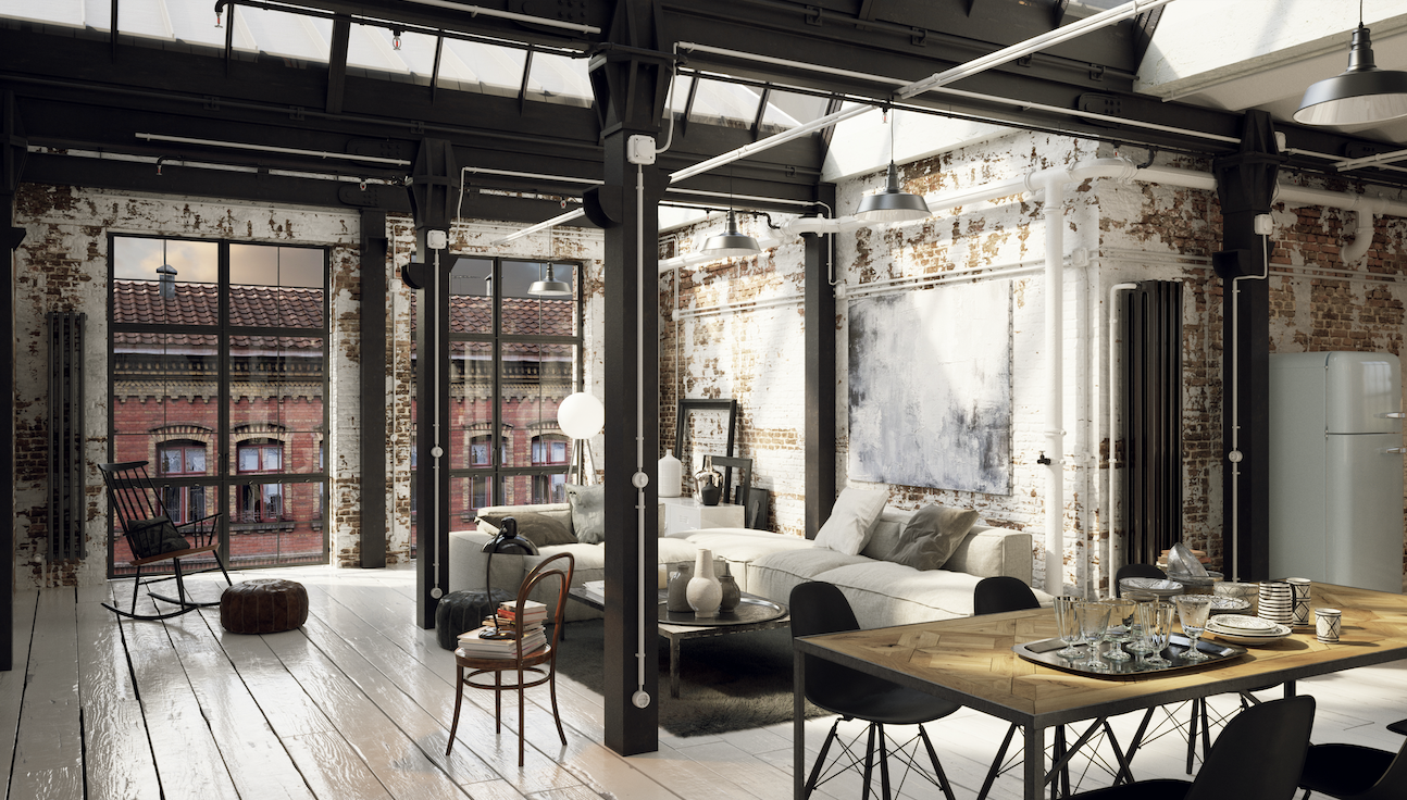 The inside of an industrial style apartment.