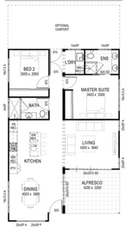 The floor plan of a modular home designed by fox modular.